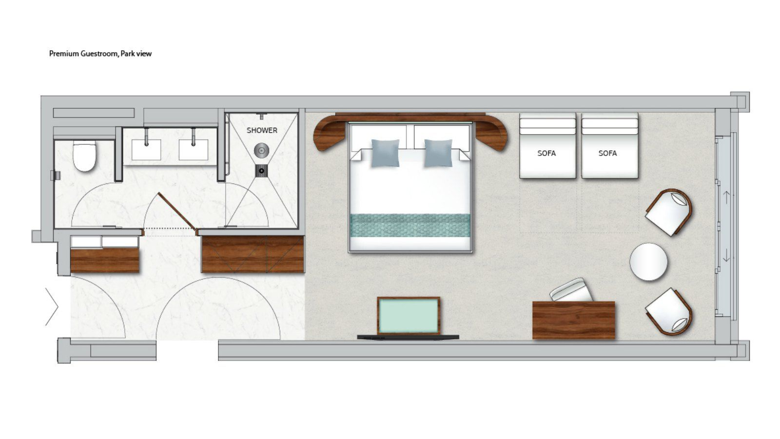 Floor Plan of Premium Guestroom, Park View